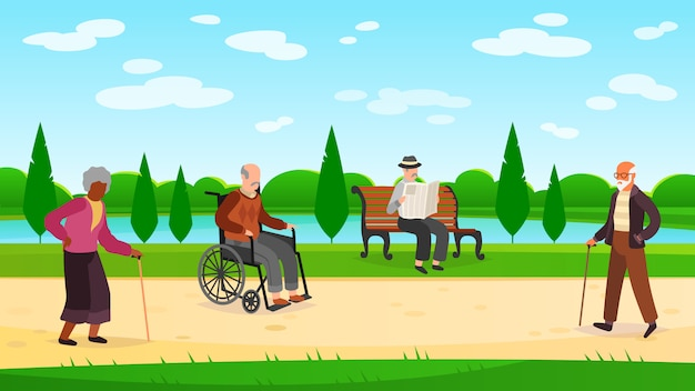 Old people walking park. outdoors character grandpa grandma walk bench bicycle elderly man woman active pensioner banner