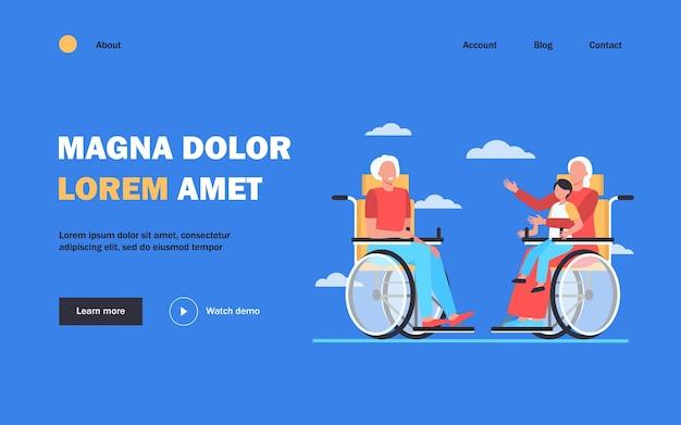 Anziani in sedia a rotelle che tengono bambino e parlano. pensionamento, bambino, illustrazione piatta dei nonni