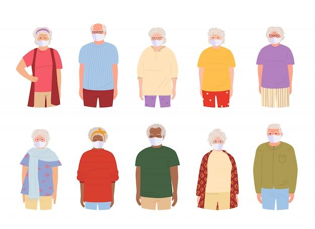 白い医療フェイスマスクを持つ老人。マスクを身に着けているコロナウイルスの漫画の高齢者から保護する