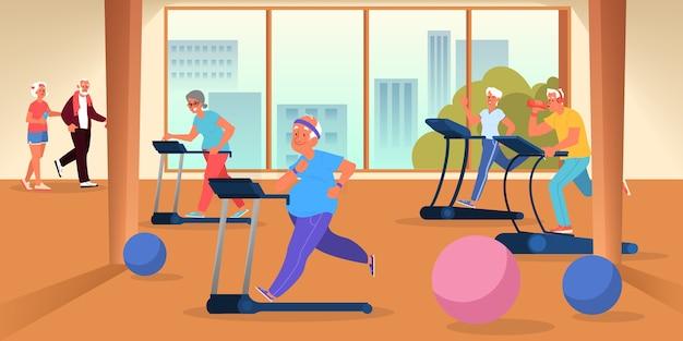 Старики в спортзале. тренировка пожилых людей на беговой дорожке. фитнес-программа для пожилых людей. здоровая жизнь .