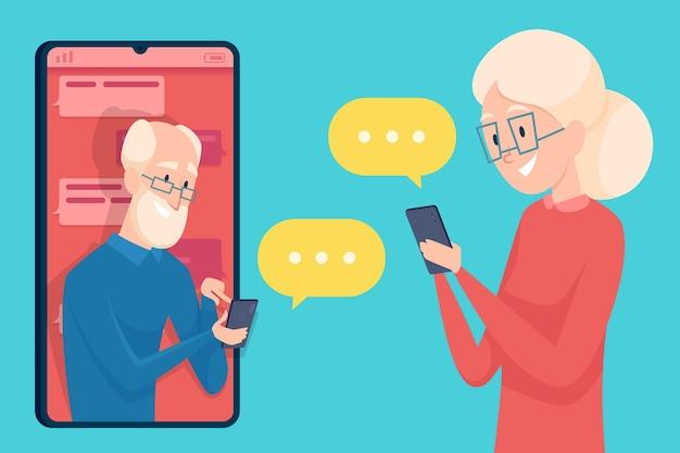 Обмен сообщениями старика. смартфон диалог знакомства пожилых людей мужского и женского пола онлайн-звонок, говорящий о концепции пожилых персонажей.