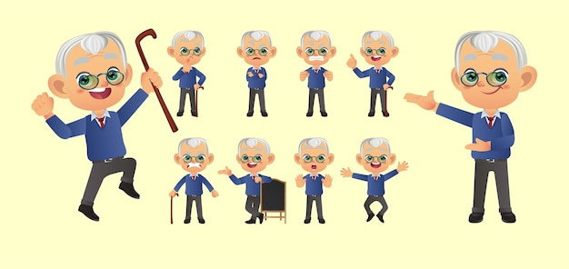 Old person with different poses.