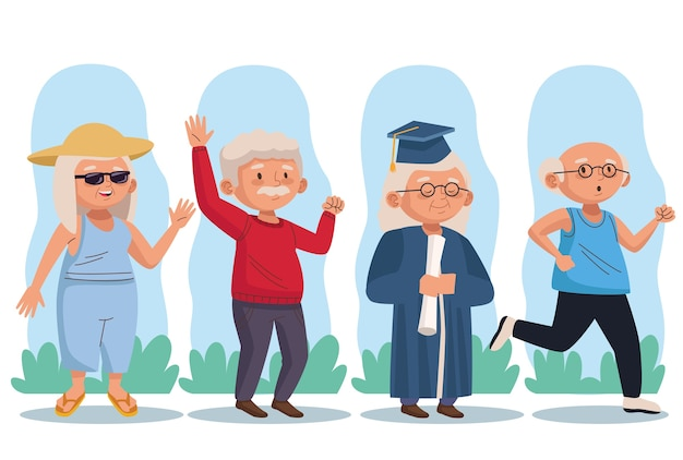 Old persons group active seniors characters