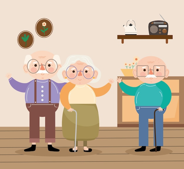 Old persons in house