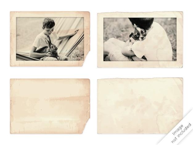 Старые фоторамки и документы на белом фоне