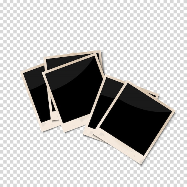 Old photo frames isolated on transparent background