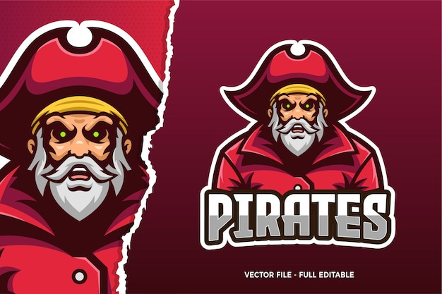 Old pirate e-sports game logo template