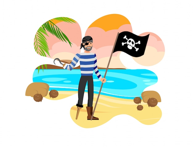 Old pirate holding black flag vector illustration
