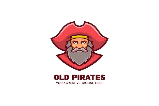 古い海賊のマスコット キャラクターのロゴのテンプレート Premiumベクター