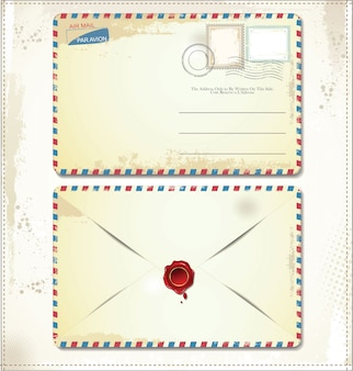 Old postage envelope with stamps and wax seal