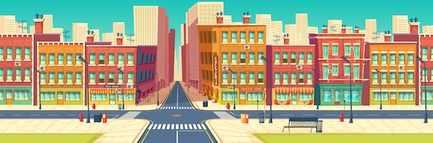 Old quarter street, city historical center district in modern metropolis cartoon
