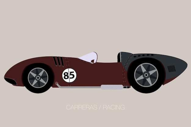 Old racing car, side view, flat design style