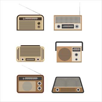 오래 된 라디오 그림입니다. 빈티지 라디오. 복고풍 라디오. 전자, 사운드 및 음악 플레이어의 상징