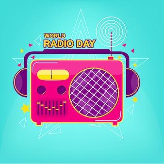 Старый логотип радио с поп-цветом Premium векторы
