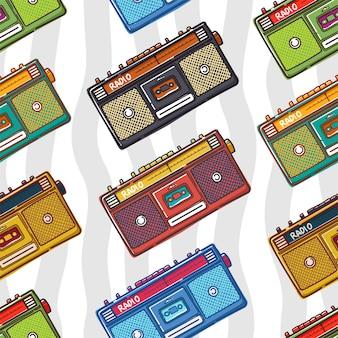 Old radio seamless pattern