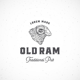 Old ram pub abstract  sign, symbol or logo template.