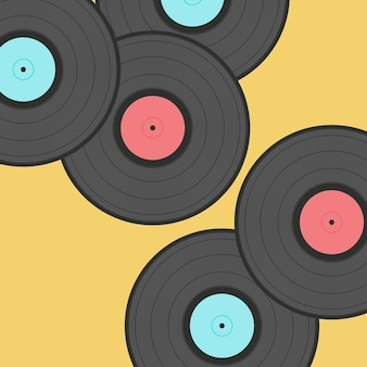 Old records isolated on sylish background
