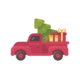 Старый красный грузовик с елкой и подарками