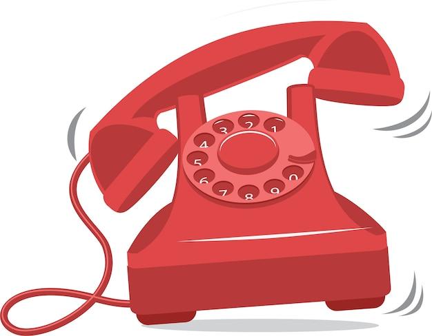 오래 된 빨간 빈티지 전화 울리는