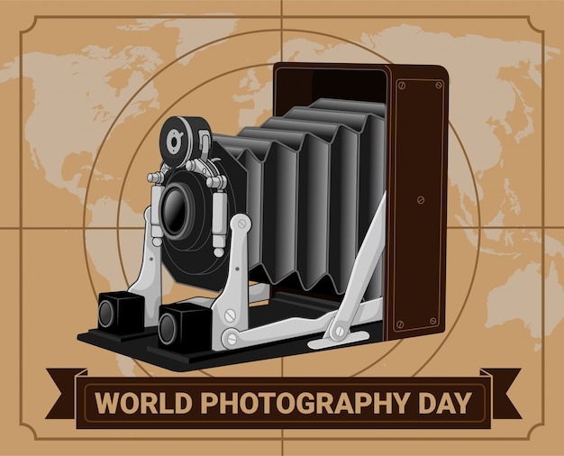 Old retro antique camera world photography day