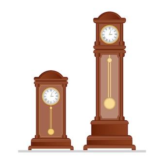 振り子のイラストが古いレトロな時計