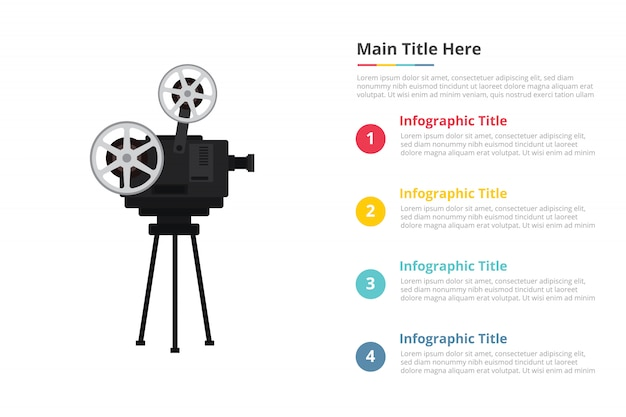 Old retro film recorder infographics template with four points