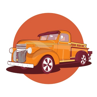Old retro pickup truck