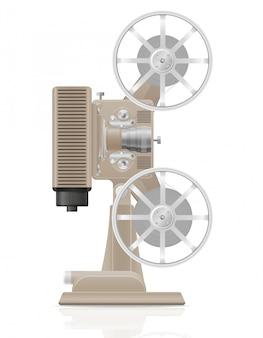 Old retro vintage movie film projector vector illustration