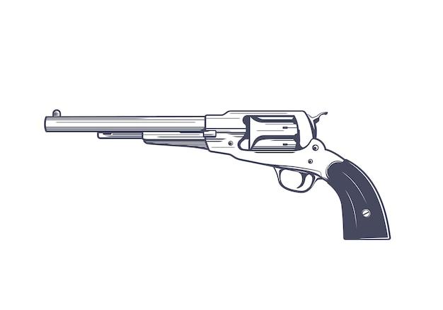 Старый револьвер, однозарядный, шестизарядный, перкуссионный пистолет, векторная иллюстрация