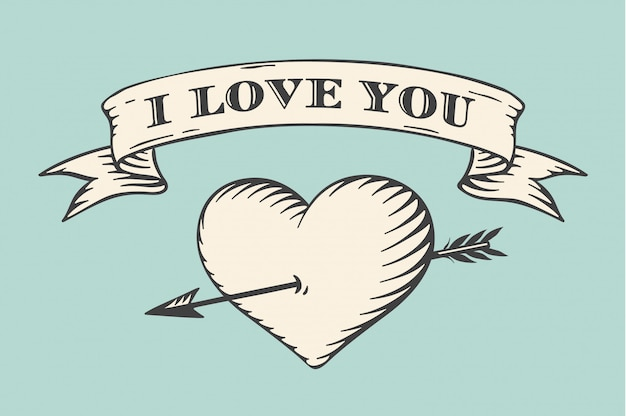 Old ribbon with message i love you, heart and arrow in vintage style engraving on a turquoise background