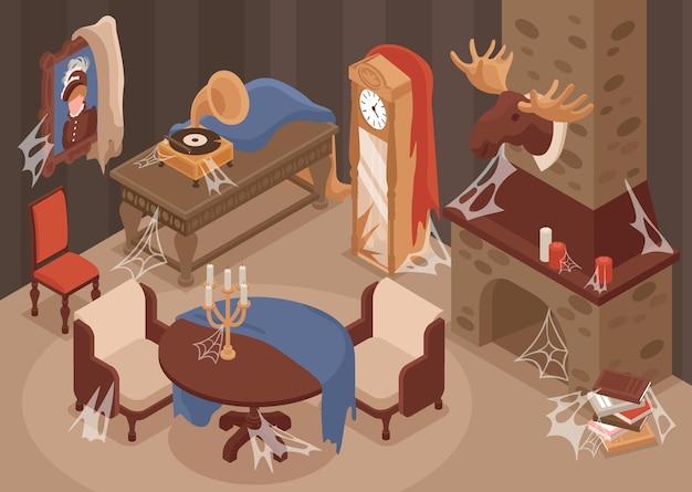 Интерьер старой комнаты со старой мебелью, камином и украшениями изометрии Premium векторы