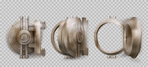 오래 된 둥근 안전 문, 투명 한 배경에 고립 된 금속 은행 금고 문. 자물쇠와 닫힌 및 열린 구겨진 강철 원형 문 현실적인 집합입니다. 녹슨 철 벙커 게이트