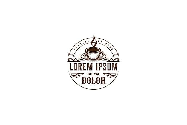 カフェレストランビストロロゴデザインベクトルの古い素朴なコーヒーマグカップ