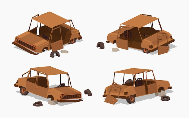 Old rusty 3d lowpoly isometric car