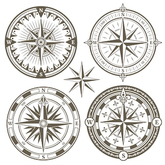 Old sailing marine navigation compass