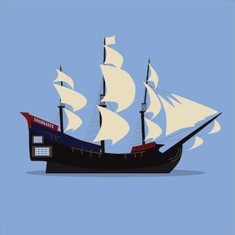 Старый парусник в море. вектор. современный и плоский стиль. пиратский корабль.