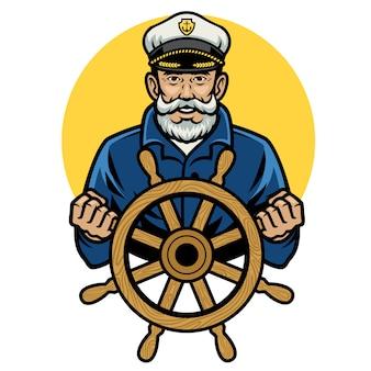 Старый капитан моряка держит штурвал