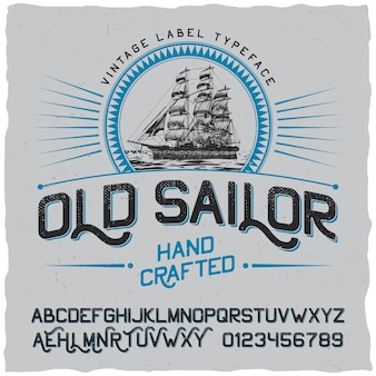 Old sailor vintage label poster with vessel in the circle and alphabet