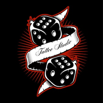Old scholl dice tattoo  on dark background.