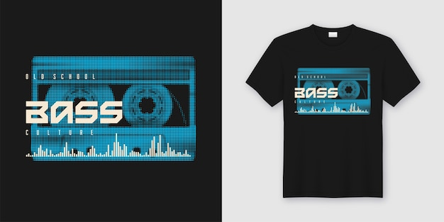 Old school bass t-shirt and apparel trendy design with styled music cassette, print
