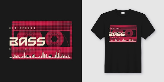Old school bass t-shirt and apparel trendy with styled music cassette, print.