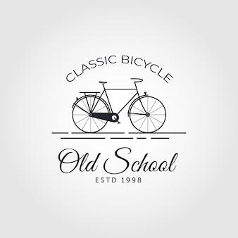 Old school bicycle bike line art logo vintage vector symbol illustration design