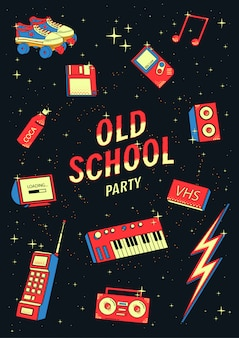 Old school elements set. retro and disco illustration with synthesizers, tape recorder, phone