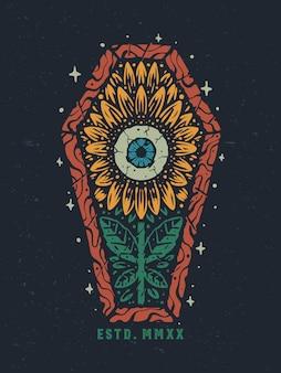 Old school eye sunflower coffin hand drawn illustration