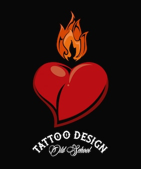 Old school heart with flamme tattoo drawing design