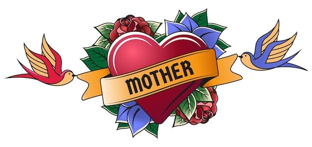 Олд скул красное сердце гравировки татуировки мамы. старинные татуировки сердце, день матери старой школы тату символ векторные иллюстрации. тату сердце и цветы мама