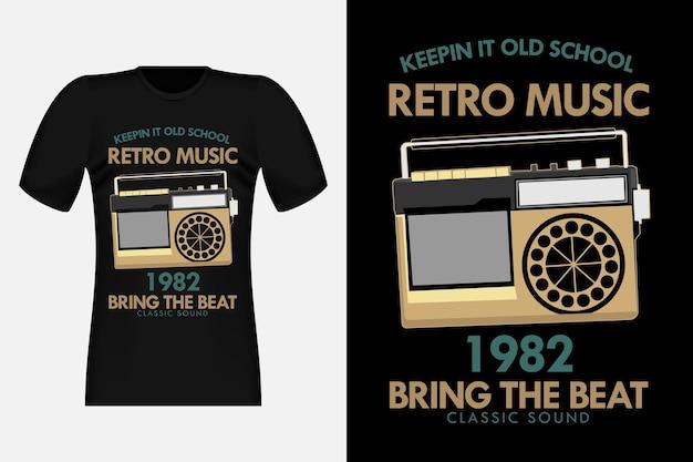 オールドスクールレトロミュージックシルエットヴィンテージtシャツデザイン