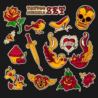Old school stikers tattoo set