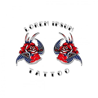 Old school swallow design tattoo flash set