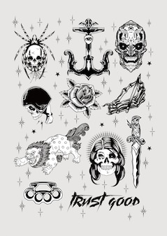 Old school tattoo design set vintage poster print